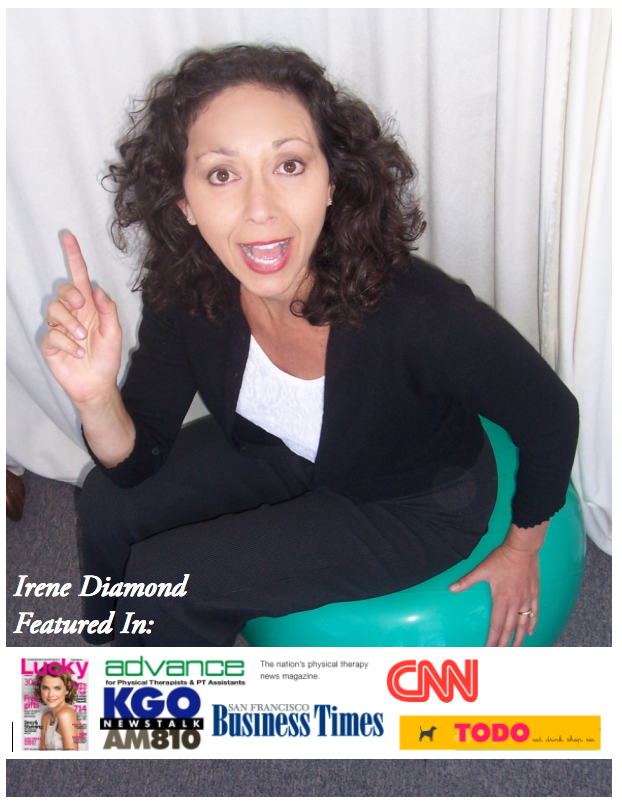 Irene Diamond headshot with media logos